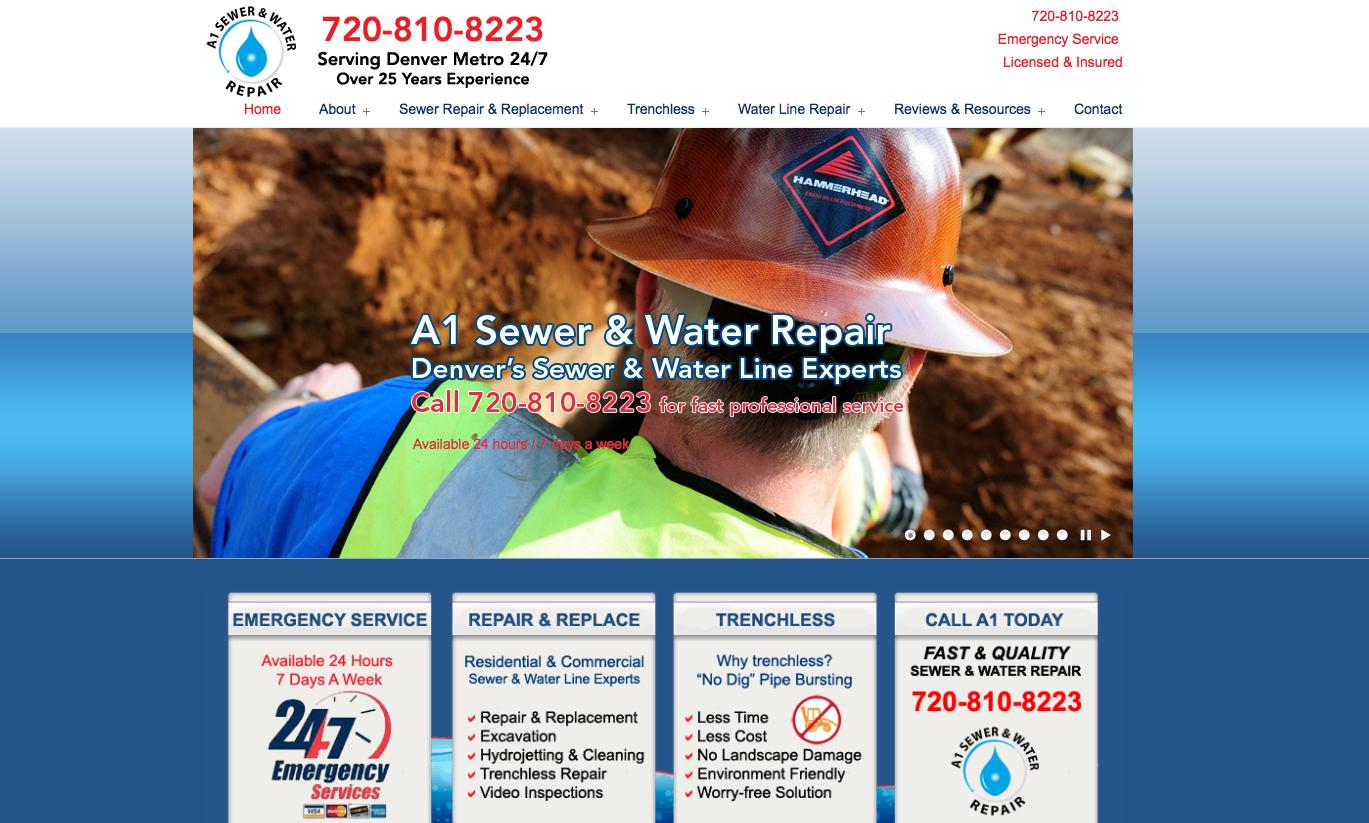 web design a1 sewer water web designer denver boulder co. Black Bedroom Furniture Sets. Home Design Ideas